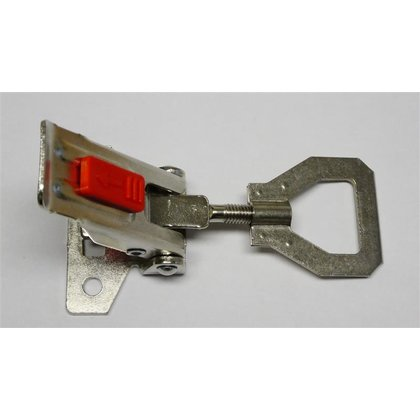 Latch nickel plated steel, with secondary lock 1100N, mounting holes 5,2mm